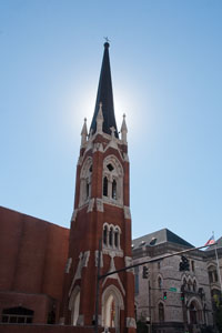 First Baptist tower erected in 1886