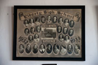 One of many class photos hanging in the enterance