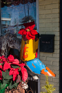 The local businesses decorated their storefronts for the season