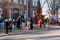 The courthouse lawn was filled with activity