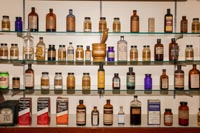 Vintage apothecary bottles can be found on display in Gainesboro Drugs.