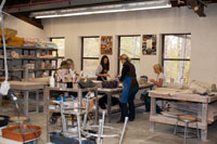 Sudents in working in the Clay Department