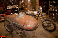The side car was made from a WWII B-51 Mustang Drop Fuel Tank