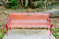 Red benches everywhere, most have been donated by the close and proud community of Warren County