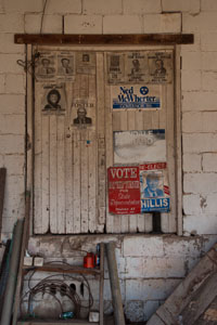 Politcal posters of past decorate the sawmill